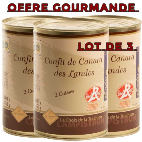 OFFRE GOURMANDE - Lot de 3 boites de 2 cuisses de confit de canard - LABEL ROUGE