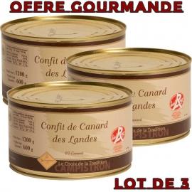 OFFRE GOURMANDE - Lot de 3 boites de confit de canard - LABEL ROUGE
