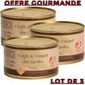 OFFRE GOURMANDE - Lot de 3 boites de confit de canard - LABEL ROUGE